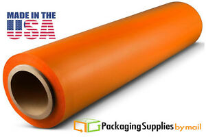 Hand Stretch Film 18 X 1500 Orange Shrink Plastic Wrap For Moving 80 Ga 28 Rls