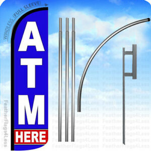 Atm Here Windless Swooper Feather Banner Sign Flag 15 Kit Bz