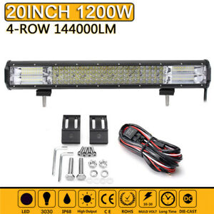 20 Inch Quad Row Led Work Light Bar Combo Driving Lamp Car Truck Boat Wiring