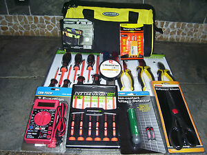 New 25pc Junior Electricians Tool Kit Screwdriver Pliers Multimeter Toolbag