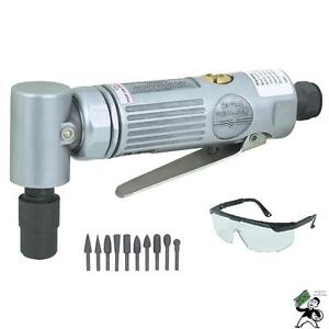 1 4 Air Pneumatic Right Angle Die Grinder With 10pc Rasp Set Safety Glasses