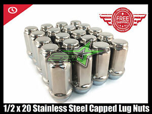 24 Stainless Steel Capped Trailer Bulge Acorn Lugs 1 2 20 2 Inch Tall