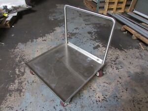 Stainless Steel Cart With Handle On Solid Rubber Wheels With 2 Locks 28 x28 x30