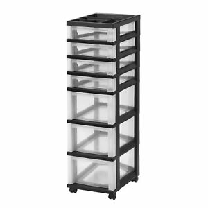 Iris 7 drawer Rolling Storage Cart With Organizer Top Black