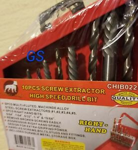 10pc Screw Extractor Right Hand Drill Bit Set Easy Out Broken Bolt New Gs