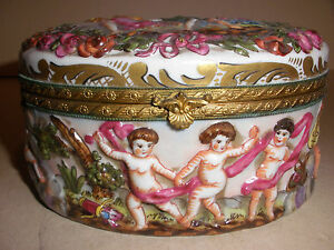 Exquisite Antique Circa 1870 S Dresden Germany Porcelain Box Cherubs
