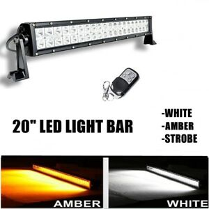 20 Inch Amber white Strobe Remote Led Work Light Bar Combo Off Road 4x4 Truck
