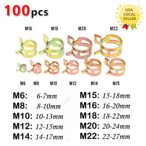 100 Spring Clip Water Pipe Fuel Line Hose Air Tube Clamp Fastener 6 22mm 10sizes