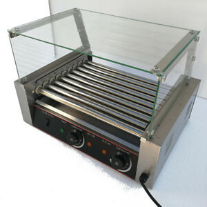 24 Hotdog Roller Commercial Hot Dog 9 Roller Grill Cooker Machine W cover