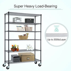 6 Tier Wire Shelving Rack Heavy Duty 48 x 82 x18 Steel Shelf Adjustable