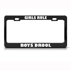 License Plate Frame Girls Rule Boys Drool Humor Funny Car Accessories Chrome