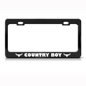 Country Boy Cowboy Cow Rebel Metal License Plate Frame Tag Holder Two Holes