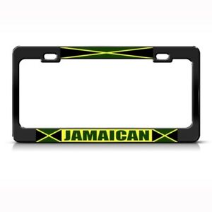 Jamaica Flag Jamaican Country Metal License Plate Frame Tag Holder Two Holes