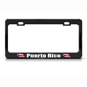 Puerto Rico Rican Flag Country Metal License Plate Frame Tag Holder Two Holes