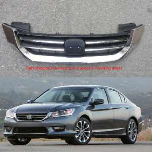 For Honda Accord 2013 2014 2015 4dr Sedan Front Bumper Upper Chrome Grill Grille