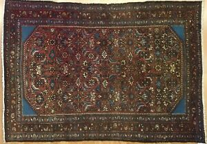 Beautiful Bijar 1910s Antique Persian Rug Tribal Herati Design 3 5 X 5 1