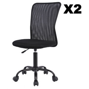 Set Of 2 Mesh Office Chair Computer Mid back Task Swivel Seat Ergonomic Chair