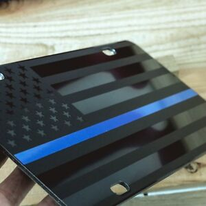 Tactical Thin Blue Line American Flag License Plate Matte Black Usa Graphics