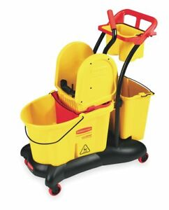 Rubbermaid Yellow Polypropylene Mop Bucket And Wringer 8 75 Gal Fg777700yel
