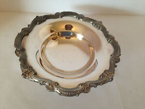 Vintage Ornate Round Footed Bonbon Dish Bristol Silverplate By Poole 136