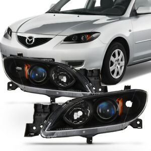 Black 2004 2009 Mazda 3 Sedan Headlights Halogen Projector Headlamps Left right