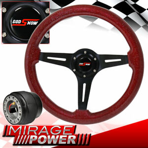 Steering Wheel Metallic Red Wood Black Deep Dish For 89 98 Maxima Hub Adapter