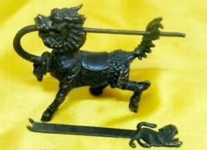 Chinese Antique Style Brass Kylin Figure Lock Key Worth Collecting