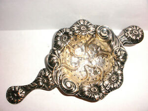 Antique Tea Strainer Art Nouveau Repousse Daisy Motif Flowers Sterling Silver