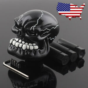Us Black Skull Resin Car Truck Manual Gear Munt Shift Knob Shifter Lever Custom