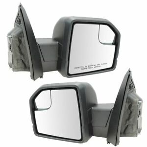 Mirror Power Heated Signal Spotlight Puddle Textured Black Pair For Ford F150