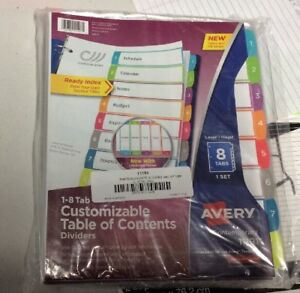 Set Of 12 Avery 11186 Ready Index Customizable Table Of Contents Dividers 8 Tab
