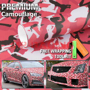 12 X60 Red Morning Wood Camouflage Camo Car Vinyl Wrap Sticker Air Release