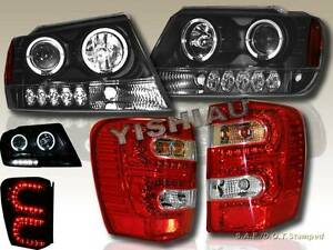 99 04 Jeep Grand Cherokee Projector Headlights Dual Halo Led Led Tail Lights