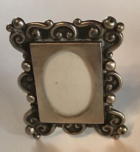 Vintage Ornate Mexico Sterling Silver Picture Frame