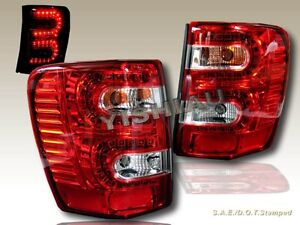 1999 2004 Jeep Grand Cherokee Led Tail Lights Red Pair 99 00 01 02 03 04