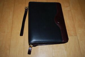 Franklin Covey Leather Calfskin Trim Planner 7 Ring Binder Organizer Two tone