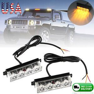 2pcs Waterproof 4led Emergency Hazard Warning Strobe Flashing Light 12 24v Amber