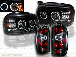 Fit For Frontier 01 04 Ccfl Halo Projector Blk Headlights jdm Blk Tail Light