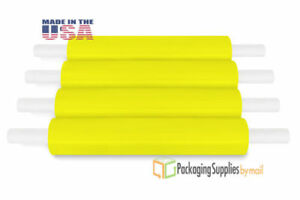 20 X 1000 Yellow Extended Core Pallet Hand Wrap Packing Materials 90 Ga 28 Rls