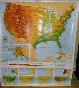 Vintage Nystrom Pull Down Classroom Map Of United States 1pr1a Collectors Must