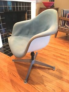 Vintage Herman Miller Eames Upholstered Swivel Contoured Chair Fiberglass Shell