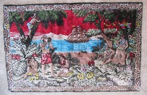 Very Rare Extra Large Vintage Hawaiian Tapestry Rug Wall Hanging