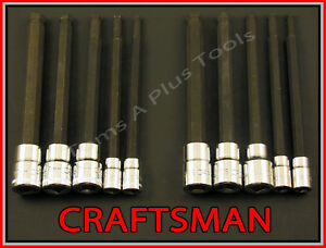 Craftsman 10pc 1 4 3 8 Sae Metric Mm Long Hex Allen Bit Ratchet Socket Set
