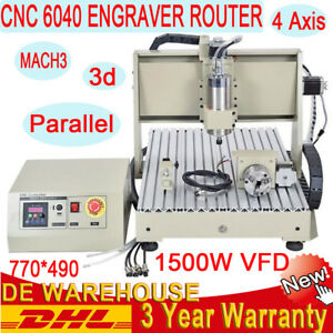 6040 4 Axis Cnc Router Engraver Milling Drilling 1 5kw Spindle 1605 Ballscrew