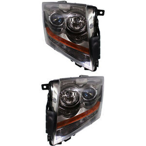 New Set Of 2 Driver Passenger Side Headlamp Assembly Fits 2008 15 Cadillac Cts