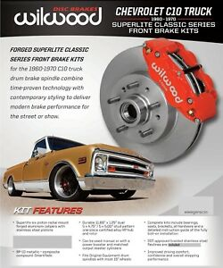 Wilwood Front Disc Brake Kit 1960 63 Chevy c10 gmc 11 86 Rotors red with Lines