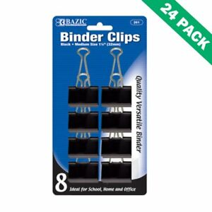 Paper Binder Clips 32mm School Black Medium Binder Clips Office Pack Of 24