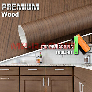 12 x48 Wood Grain Vinyl Wrap Sticker Car Home Kitchen Desk Decoration 1551