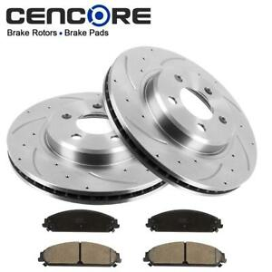 New Kit 2 Front Drill Slotted Brake Rotors 4 Pads For 2005 2013 Chrysler 300