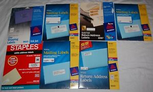 Vintage Return Address Mailing Label Lot Of 7 Avery Staples Open White Gold Foil